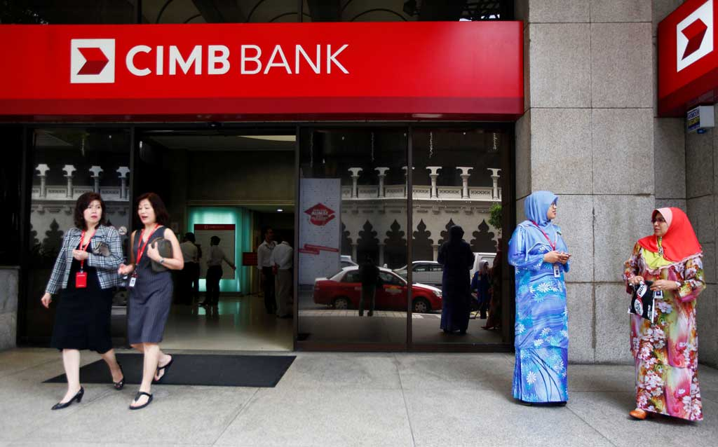 women leaving a bank